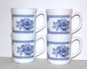 1970s Set of 4 Vintage French Arcopal Floral Mugs, Opal Glass Mugs, Honorine French Mugs