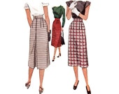 Vintage 1940s Sewing Pattern - Long Pencil Skirt with Outside Dart Detail, Back Inverted Pleat - 1947 McCall 7003, Waist 24, Uncut