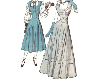 Vintage 1940s Sewing Pattern - Formal Evening Gown or Jumper Dress with Blouse, Square Neckline - Advance 4725, Bust 30, Unused