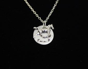 Horse Hand Stamped Personalized Necklace