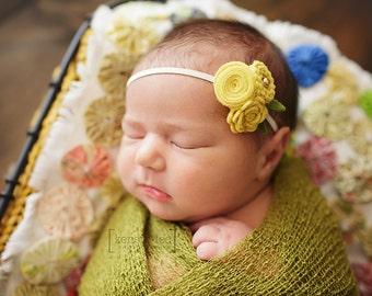 Wool felt Flower Headband - Photo Prop - Photography - You pick colors - Flower Headband - Baby Girl - Newborn