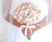 Bridal Wedding Bouquet, Neutral Needle Felted Wool, Craspedia, Rustic, Off White, Brown, Tan, Pink, Everlansting