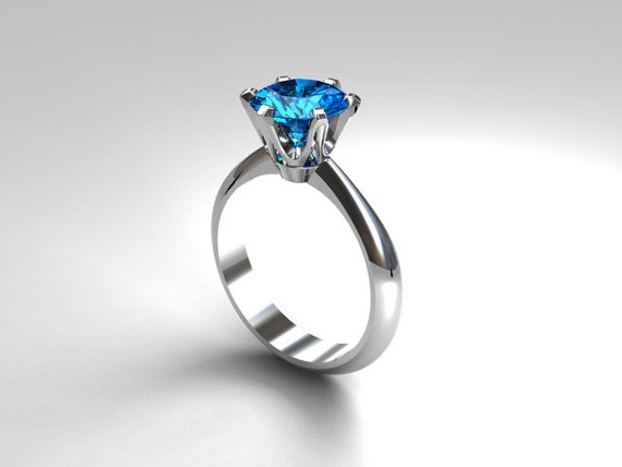 Swiss blue topaz solitaire engagement ring white gold blue