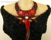 Feather Bead Embroidered Necklace