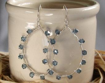 Swarovski Blue Earrings, Silver Loop Earring, Wire Wrapped Earrings Handmade, Argentium Silver Earrings, Silver Wire Earrings, Gift for Her