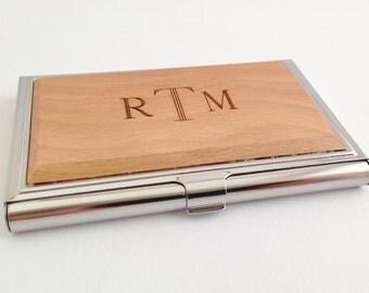 Personalized Business Card Case Wood,  Custom Wood Business Card Case, Monogram Card Case, Gift for Boyfriend Birthday