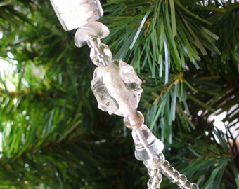Christmas Ornament, Recycled Glass, Glass Crystal Ornament, Christmas Dangle, Sun Catcher, Holiday Ornament, Holiday Dangle, Candy