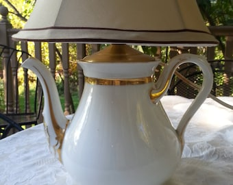 Antique Charles Field Haviland Teapot Lamp, Limoges, France