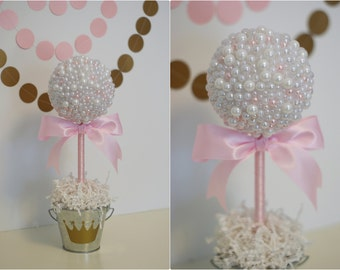 White U0026 Pink Pearls. Baptism Centerpiece. Pearl Baby Shower. Wedding