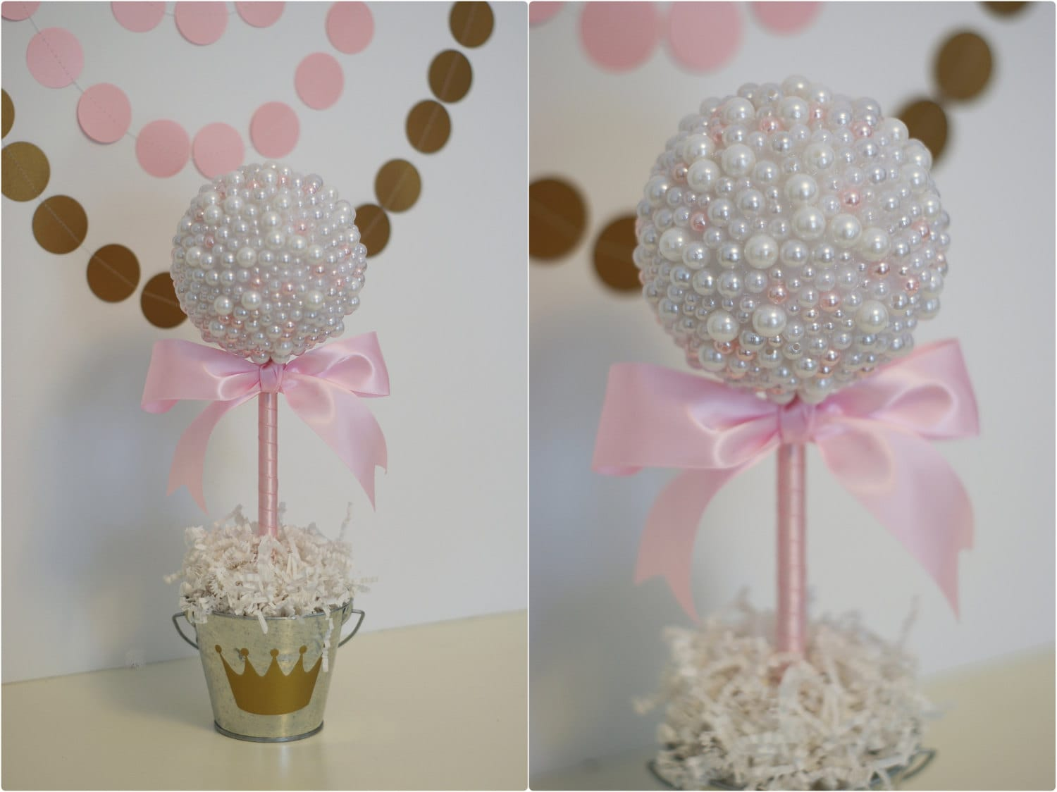 Pearl centerpieces white pink pearls baptism centerpiece