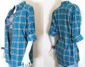Long Sleeved, Vintage Style, Plaid, Cotton Blend Fabric Shirt.
