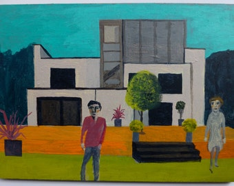 The Modernists - original painting on wood - ready to hang