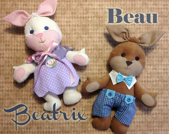 COMBO Beatrix and Beau Easter Bunny PDF Doll Pattern AND Wardrobe
