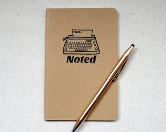 Hand Stamped Pocket Journal/Notebook - Noted, Hand Stamped A6 Kraft Moleskine Cahier Notebook