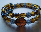 Montana Blue and Honey/Midnight Czech Beads Stackable Bracelet