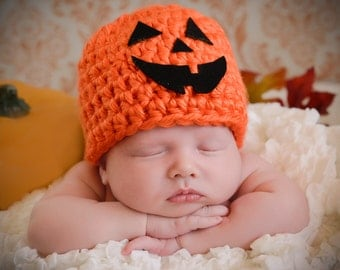 Jack O' Lantern Baby Hat Newborn Photo Prop Halloween Pumpkin Baby Hat Fall Baby Hat Autumn Baby Hat Halloween Baby Hat Orange Pumpkin Hat