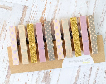 SALE! Washi Clothespins Set of 10 Mini Clothespins Purple Gold Gray