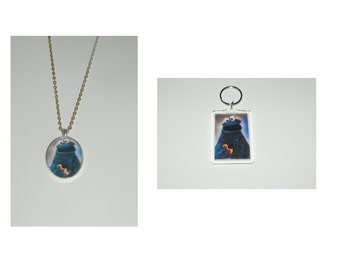 Sesame Street Cookie Monster Glass Pendant Necklace and/ or Keychain
