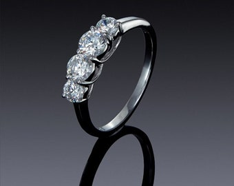 4 Stone zircon Engagement Ring 925 Sterling Silver 14k 18k white and yellow Gold jewelry ,gift idea SKU: 1838