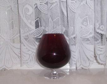 Vintage ruby red Brandy Glass