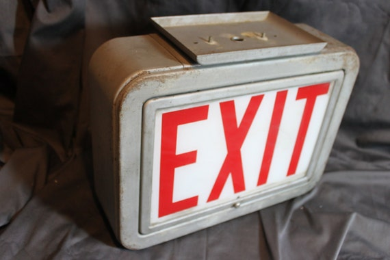 Vintage Industrial Light Up Exit Sign Silver Metal Housing