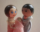 Baby Shower Cake Topper. Clothespin Doll. Baby Keepsake.