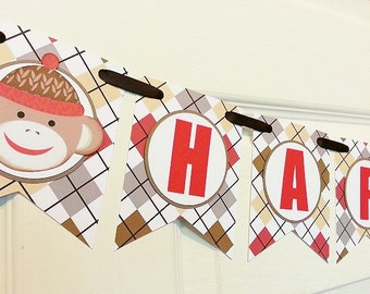 Sock Monkey Banner - Baby's First Birthday - Custom Party Banner - Happy Birthday - Welcome Home Banner - Baby Shower Baptism