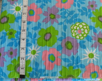 """Vintage Crantex Fabric Baby Blue Fabric with Pink Purple Green and White Flowers Blue Foliage Corded Ribbed cotton 44"""" wide Hippie Mod"""