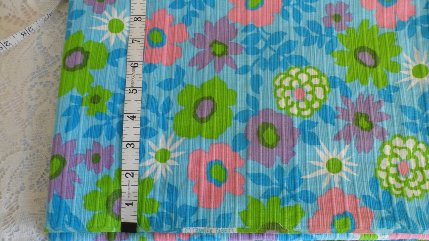 Vintage crantex fabric baby blue fabric with pink purple green for Purple baby fabric