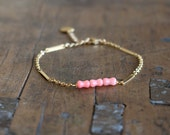 Pink coral bracelet with gold plated chain for women / coral bead bracelet