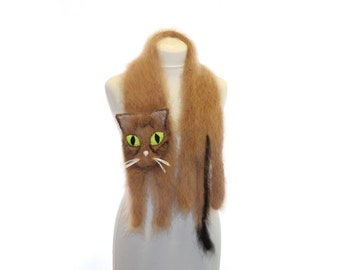 Knitted Scarf / Fuzzy Soft Scarf / dark biege brown сat / cat scarf / Knit scarf / animal scarf / Abyssinian cat