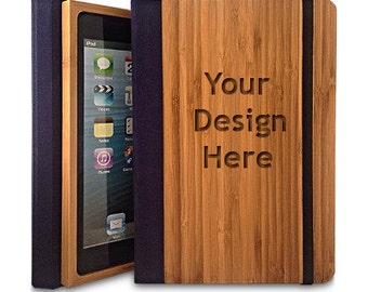 Bamboo iPad Air 2 Bookcase, Personalized iPad Air 2 Case (Engraved with your custom design)