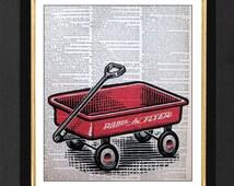 Radio Flyer Wagon,Children Radio Flyer paintings,Mixed Media print on size  8x10 Vintage Dictionary page, Dictionary art, Dictionary print