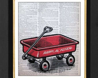 Radio Flyer Wagon, Children Red Radio Flyer, Children Room Art, Wagon Art Print, Prints of Wagons, Childrens Room Decor, Red Color Decor