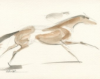 "Race Horse Art, Derby Galloping Racehorse, Original Watercolor Painting by Anna Noelle Rockwell-""Exhilarate"""