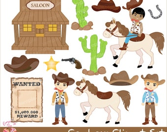 Cowboys Clipart Set
