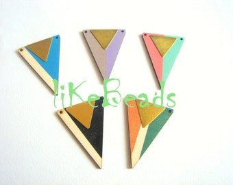 Hand painted  Wood Pendants,Wood Triangles,Do it Yourself  necklace