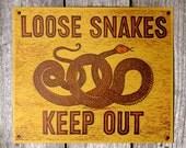 "Letterpress Linocut Snake Poster ""Loose Snakes Keep Out"""