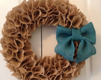 "Large 19"" Tan Ruffle Burlap Wreath"