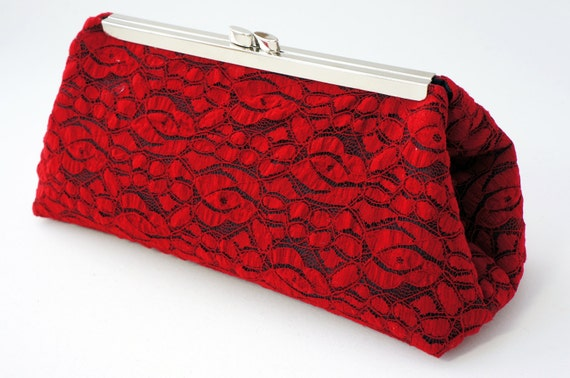 Red Lace Clutch Handbag - Red & Black Bridesmaid/Bridal/Wedding/Prom/Evening Purse - Vintage Inspired - Includes Chain - Made to Order