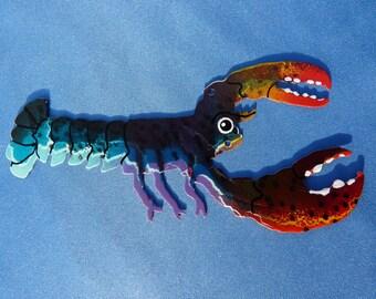 Metal Rainbow Lobster Ornament
