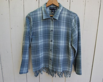 FRINGE FLANNEL COAT Grays Button Down Sweater Shirt Top