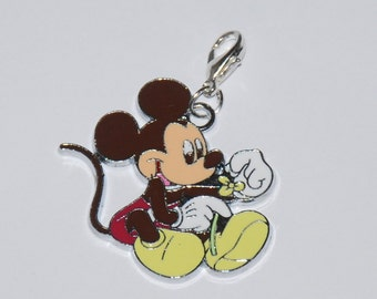 Cute Disney Mickey Mouse with flowers Enamel Clip Charm, zipper pull, backpack, cell phone, purse clip, bracelet, necklace or scrapbooking.