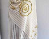 Shawl/Beige tricot fabric shawl/Needlework shawl/Crochet shawl/Shaw/Handmade shawl/Shawl and scarf/Golden/Shawl store/Christmas gift