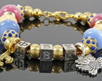 PHI BETA KAPPA:  European Style Large Hole Bead Honor Society Bracelet Accessory Gift