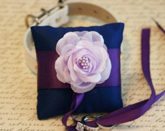 Royal Blue Ring pillow Lavender Dog Collar, Pet wedding accessory, ring bearer, Dog Lovers