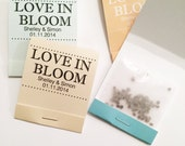 50 Seed Matchbooks - Love in Bloom Wedding Favors of Forget Me Not Seeds
