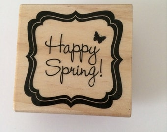 Happy Spring Rubber Stamp