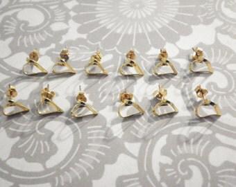 6 Prs. Gold Filled Heart Earrings