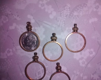 8 Brass U.S. Dime Coin Bezels Holders